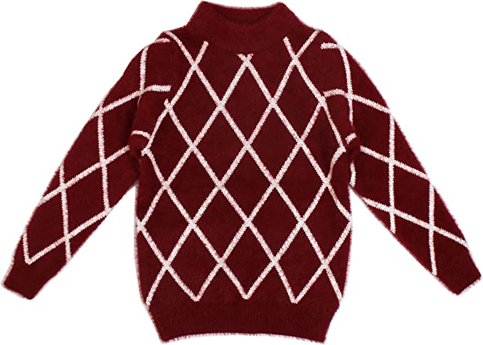 Bienzoe Little Boys Long Sleeve Crew Neck Jacquard Pattern Pullover Sweater