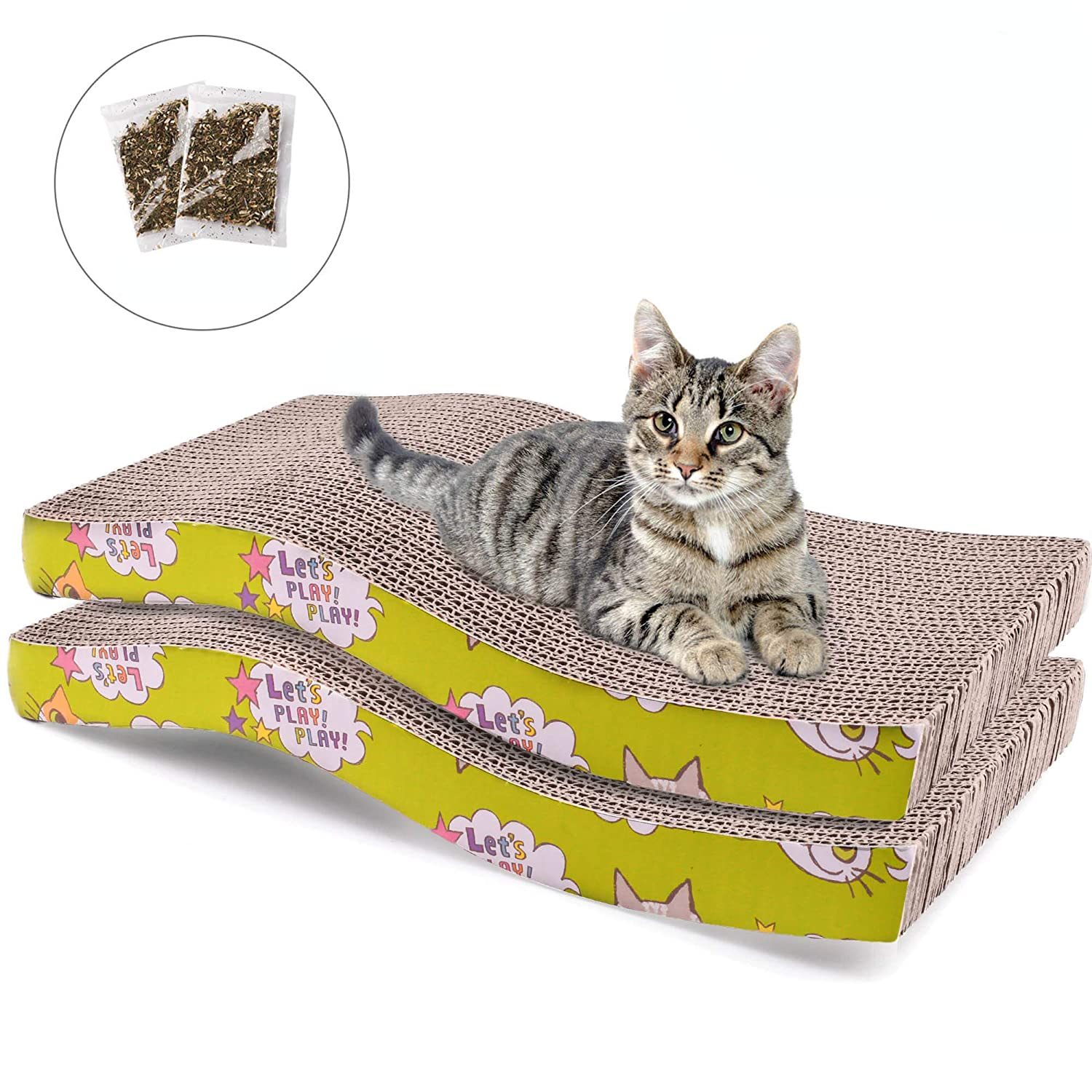2 Pack Cat Scratcher Cardboard, Recycle Corrugated Cat Scratching Pad Wave Shaped Reversible Kitty Cat Scratcher Lounge Sofa for Furniture Protector, Catnip Included 81ixdyMx4AL