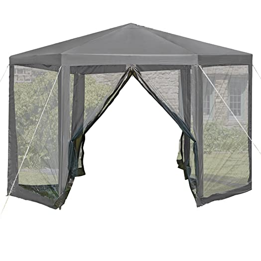Hexagon Gazebo Event Shelter Marquee Hexagonal Party Tent With Sides Canopy Guy Ropes 36m