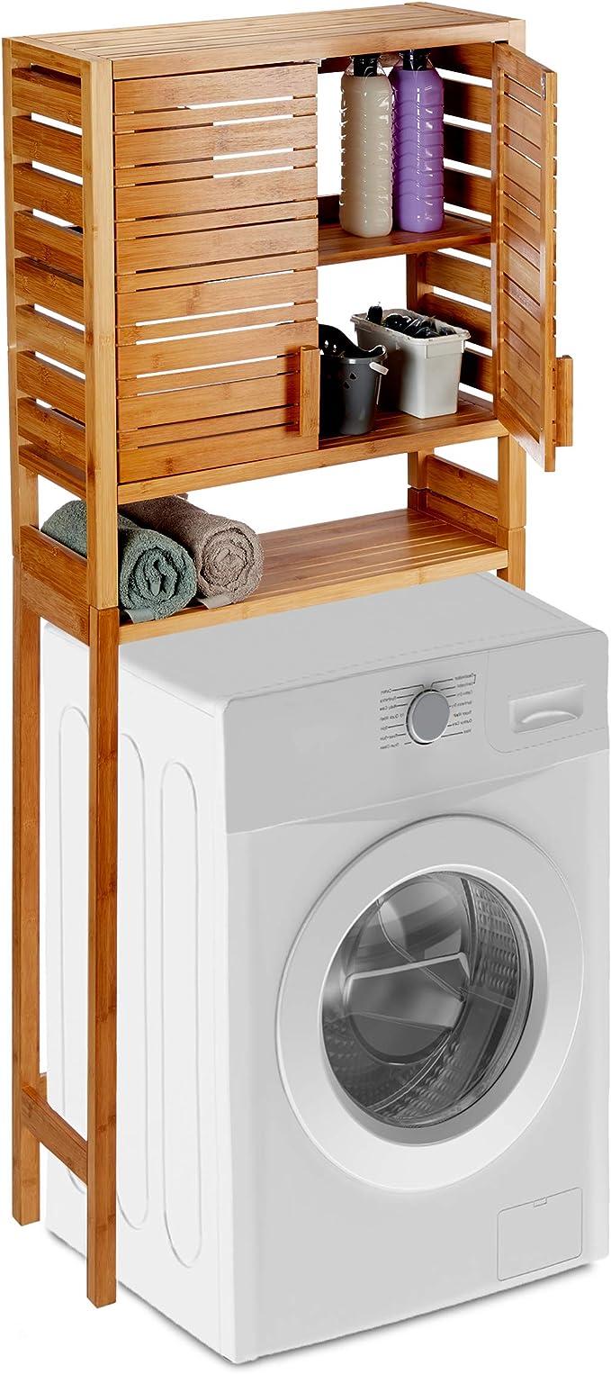 Argento Relaxdays Mobile per Lavatrice in Metallo 1 pz sopra WC HxLxP 162,5x67x30 cm 3 Scaffali per Bagno o Lavanderia
