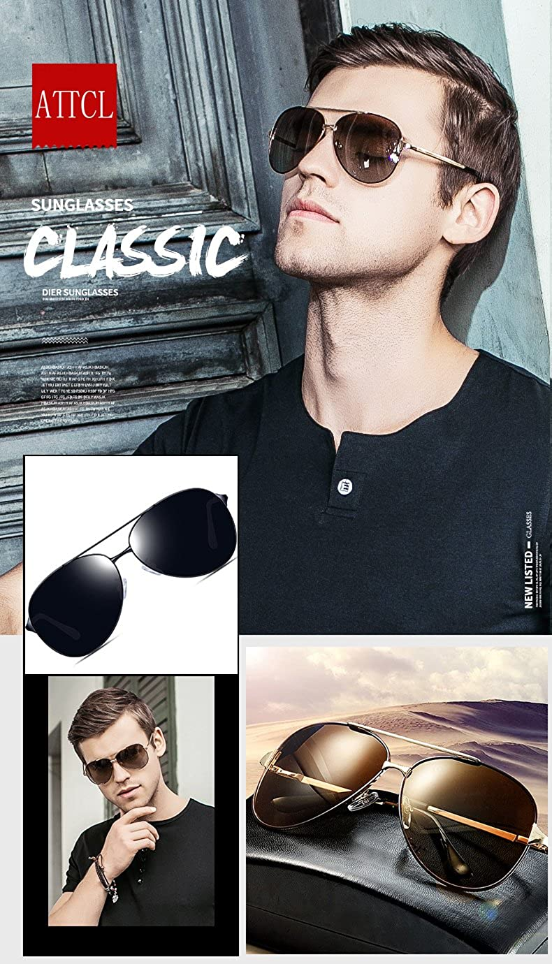 d64fb7c7e82 ATTCL Men s Hot Classic Polarized Sunglasses For Golf Driving 8009 Black   Amazon.co.uk  Clothing