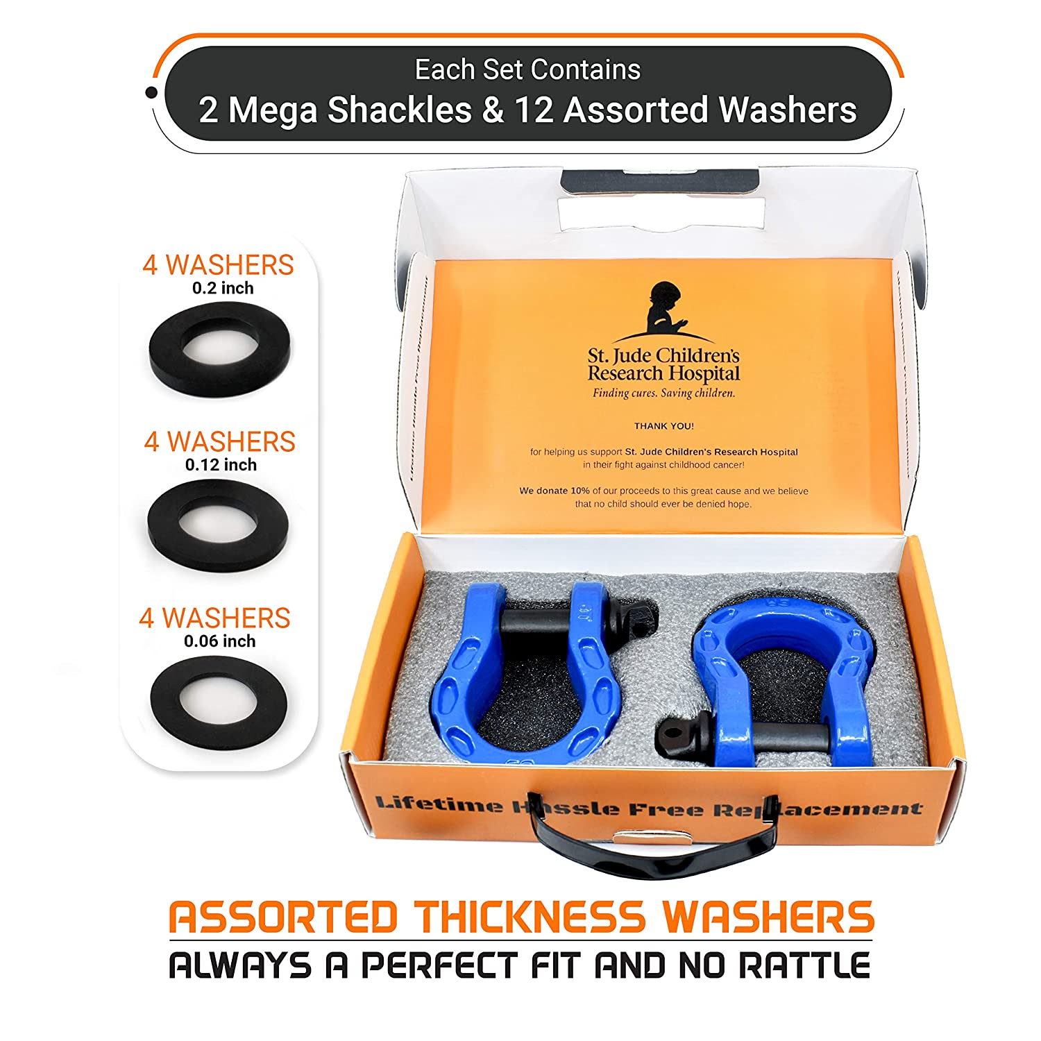 Tested Strength 3//4 Shackle 2PK 34 Ton GearAmerica Mega Duty D Ring Shackles 68,000 Lbs 7//8 Pin Washers Securely Connect Tow Strap Or Winch Rope to Jeep for Off-Road 4X4 Recovery Blue