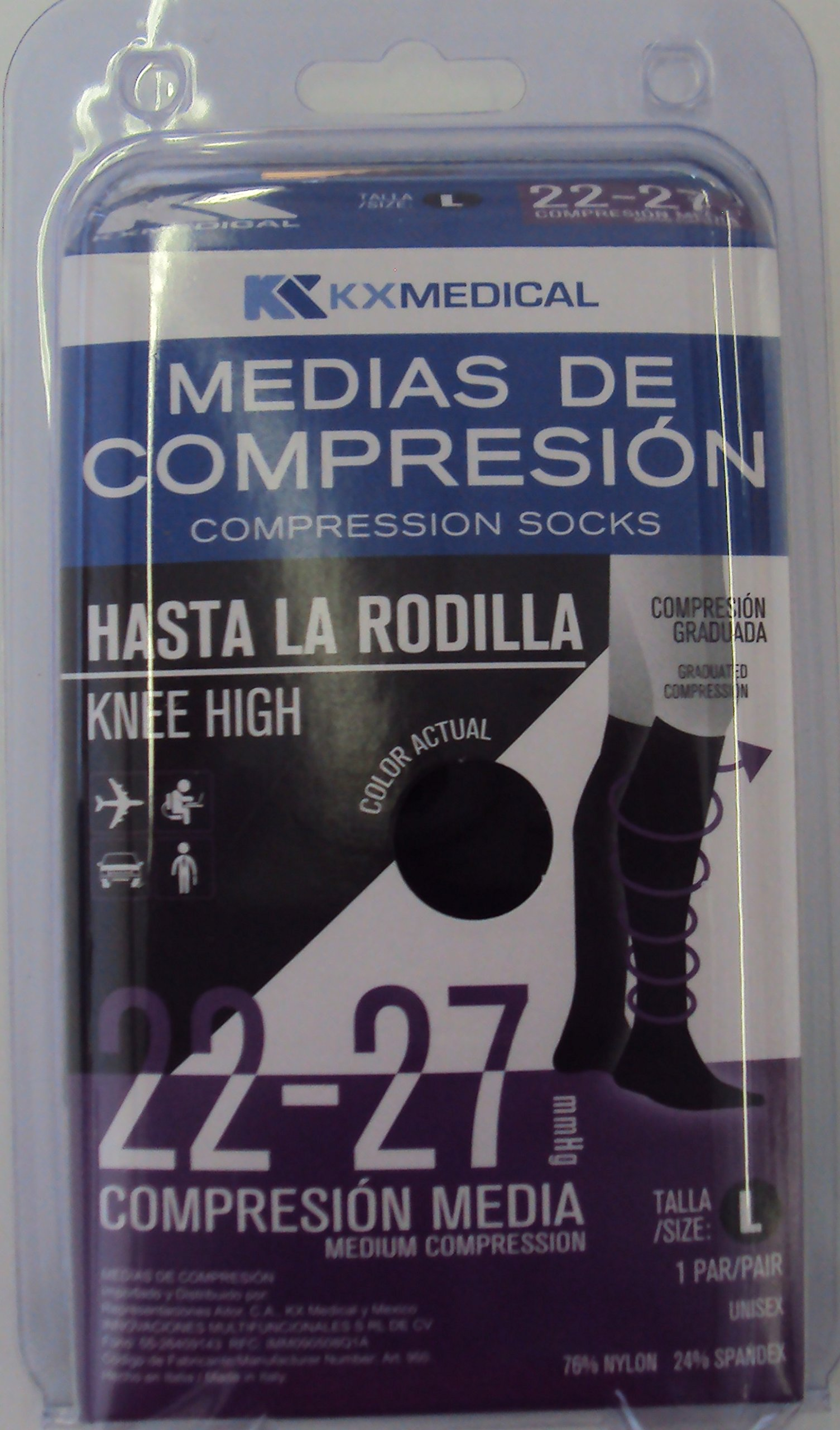 Knee High Compression Socks 20-30 mmHg (CE 22-27 mmHg) Size L, Color Black. For Women&Men. Made in Italy. Recommended For Athletic Sports, Running, Flight Travel (MC118US)