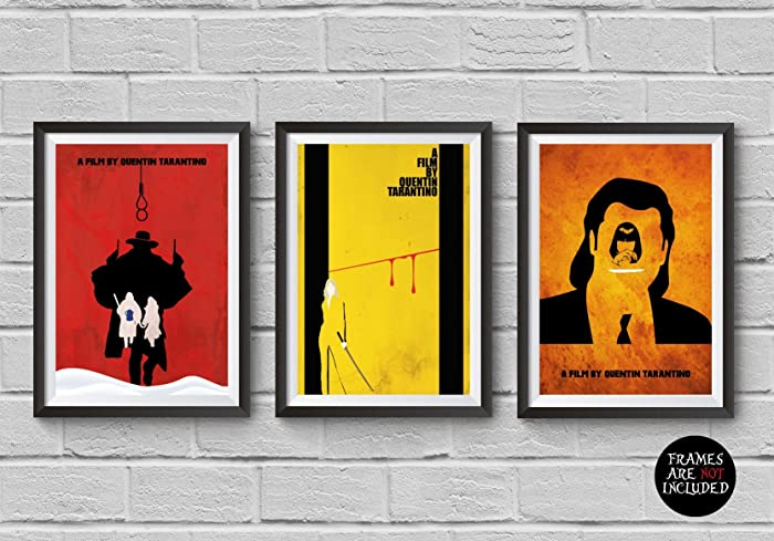 Quentin Tarantino Trilogy Minimalist Poster Set The Hateful Eight Kill Bill Pulp Fiction Print Illustration Wall