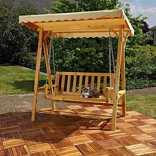 MCL - Banco de madera para jardín de Hollywood Techo Beige Jardín: Amazon.es: Jardín