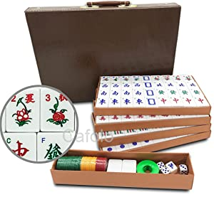 "Mose Cafolo Chinese Mahjong X-Large 144 Numbered Melamine Tiles 1.5"" Large Tile with Carrying Travel Case Pro Complete Mahjong Game Set - (Mah Jong, Mahjongg, Mah-Jongg, Mah Jongg, Majiang)"