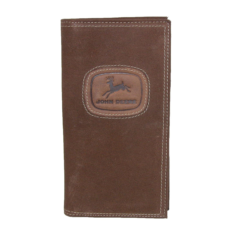 John Deere Men's Distressed Leather Checkbook Cover, Brown