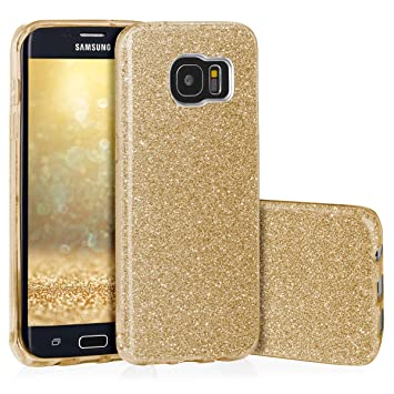EGO ® Carcasa Brillante para G935 Galaxy S7 Edge, Oro Funda Protección Case Brocado Silicona Elastica Diamante Luxus
