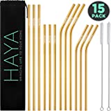 HAYA 15-Pack Reusable Straws, Metal Straws Set with 2x Cleaning Brushes and 1x Travel Case – Stainless Steel Drinking Straws (6x Long Straight & Bent + 6x Short Straight & Bent) (Gold)