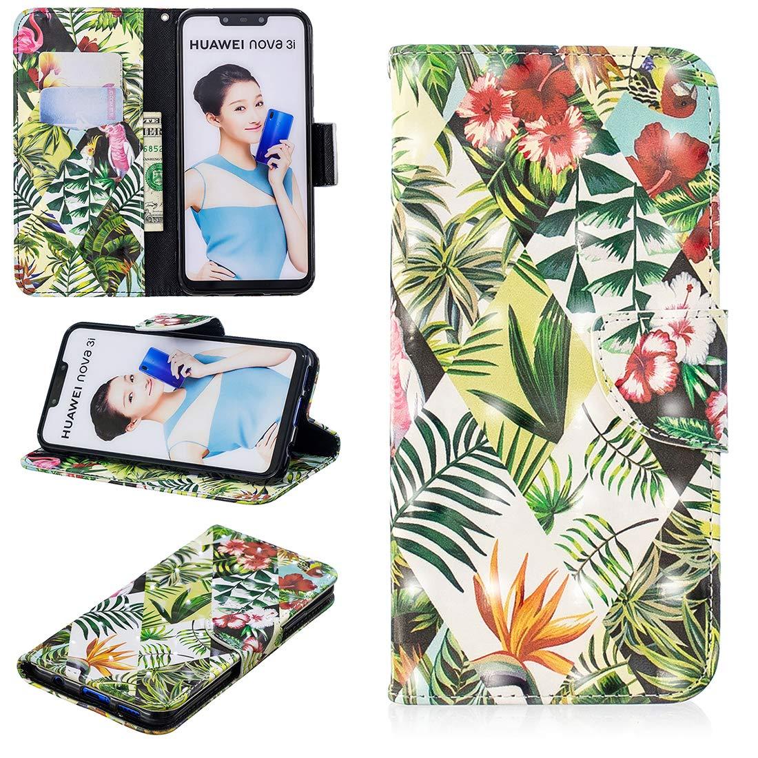Lyzwn 3D Coque Huawei Nova 3i Housse en Cuir PU Flip Coque Etui Wallet Case avec Support Cartes Slots Fermeture Aimantée pour Huawei Nova 3i Motif