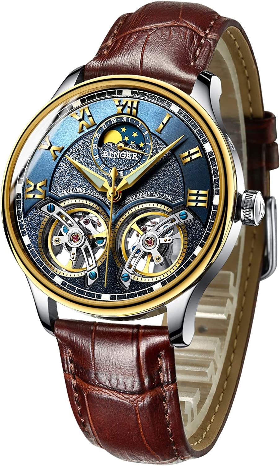 BINGER Men's Skeleton Automatic Mechanical Wrist Watch with Leather Band