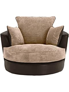 Large Swivel Round Cuddle Chair Fabric Light Grey Amazon Co Uk