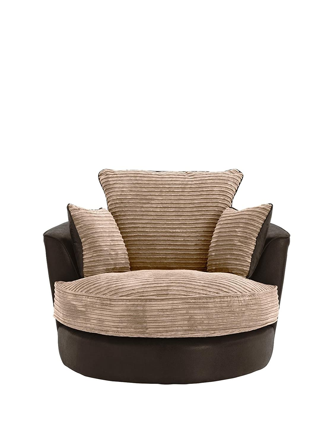 Large Swivel Round Cuddle Chair Fabric Corduroy Chenille Leather Designer  Scatter Cushions (Brown): Amazon.co.uk: Kitchen U0026 Home