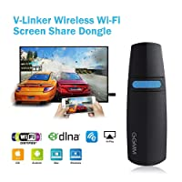 HDMI Dongle Miracast Dongle 5GHz/2.4GHz Wireless for Video/Game Full Screen from the Internet and Phones Cellular on HDMI TV screen, Perfect for iPhone / iPad / Mac Book and Android (HM-100)