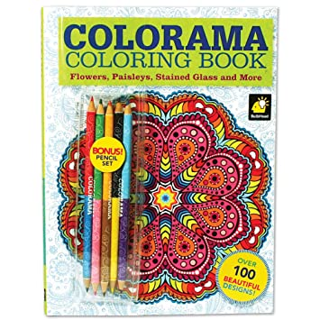 Colorama Coloring Book With 100 Flowers Paisleys Stained Glass And More