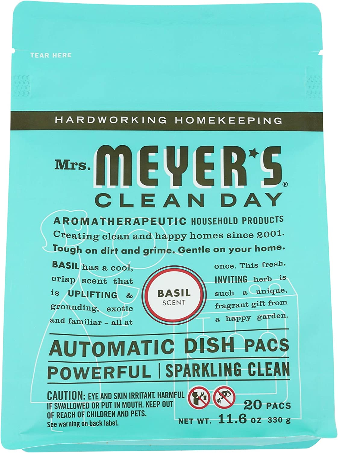 Mrs. Meyer's Clean Day Auto Dishwashing Packs, Basil, 20 Count