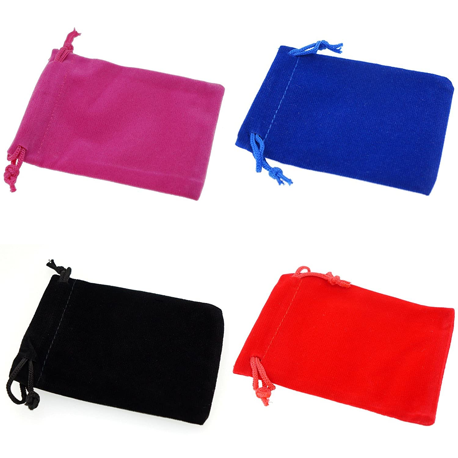 Pack of 8 Mix Color Soft Velvet Pouches w Drawstrings for Jewelry Gift Packaging 9x12cm