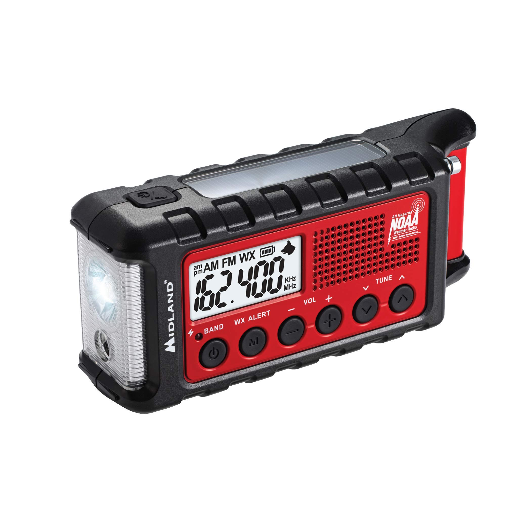 Midland - ER310, Emergency Crank Weather AM/FM Radio - Multiple Power Sources, SOS Emergency Flashlight, Ultrasonic Dog Whistle, NOAA Weather Scan + Alert (Red/Black) by Midland