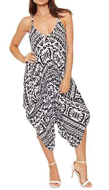 8ad86851dc Re Tech UK Ladies Baggy Harem Jumpsuit Romper Sleeveless All in One V-Neck  Cami Playsuit  Amazon.co.uk  Clothing
