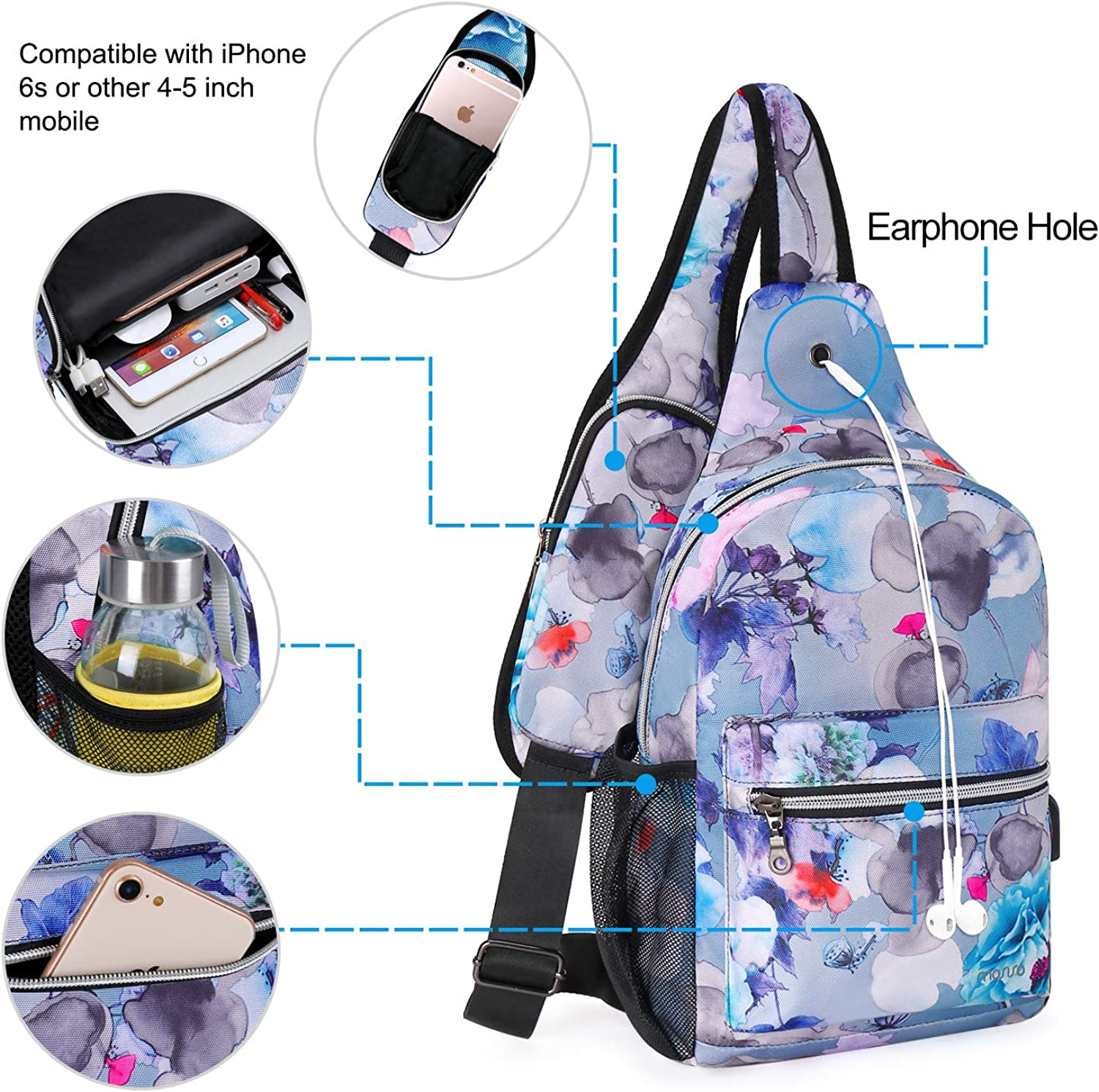 Ink-wash Painting MOSISO Sling Backpack Hiking Daypack Pattern Chest Outdoor Shoulder Bag with USB Charging Port