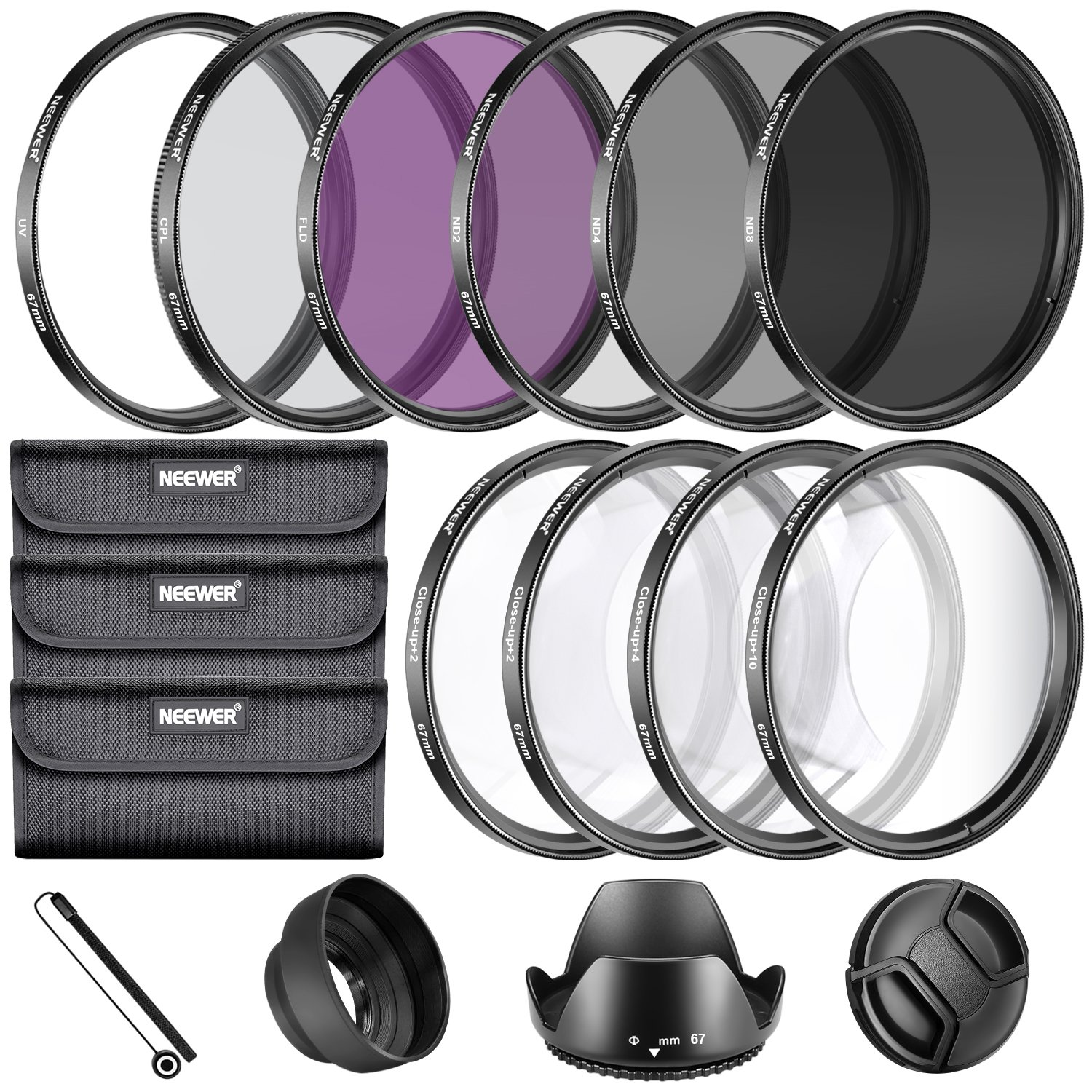 Neewer 67MM Complete Lens Filter Accessory Kit for Lenses with 67MM Filter Size: UV CPL FLD Filter Set + Macro Close Up Set (+1 +2 +4 +10) + ND Filter Set (ND2 ND4 ND8) + Other by Neewer