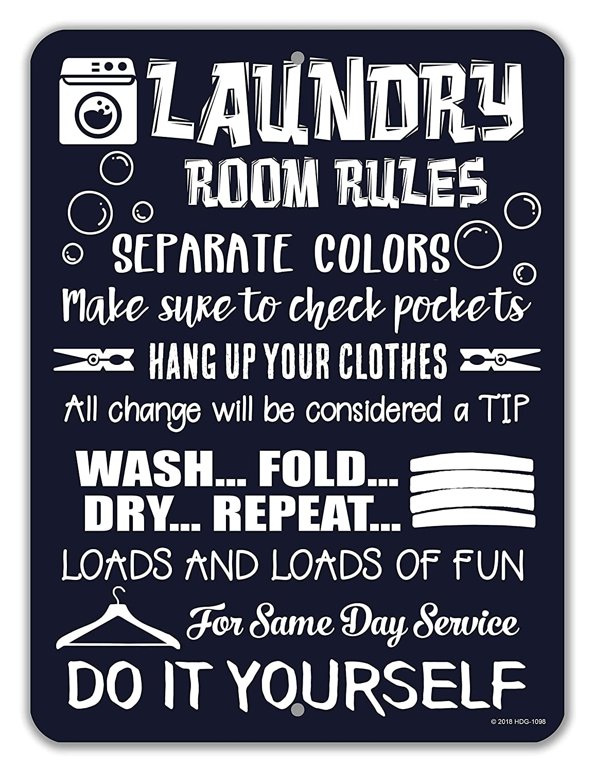 Honey Dew Gifts Laundry Room Decor, Laundry Room Rules, 9x12 Novelty Tin Funny Laundry Signs