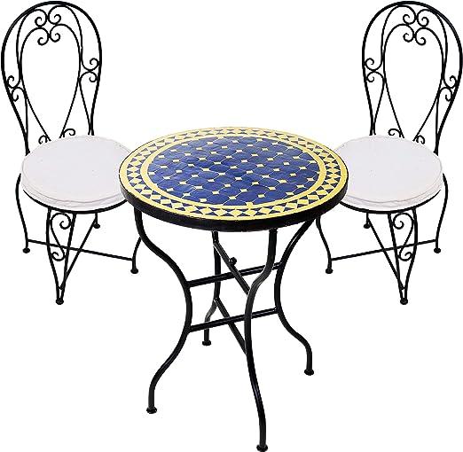 Juego de mesa y 2 sillas para jardín (mesa de mosaico redonda y ...