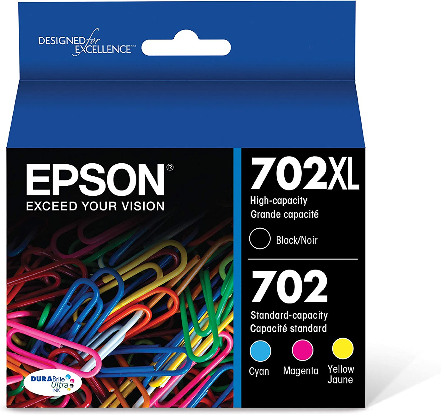 2 Pack Epson T702XL120-S DURABrite Ultra Black High Capacity Cartridge Ink