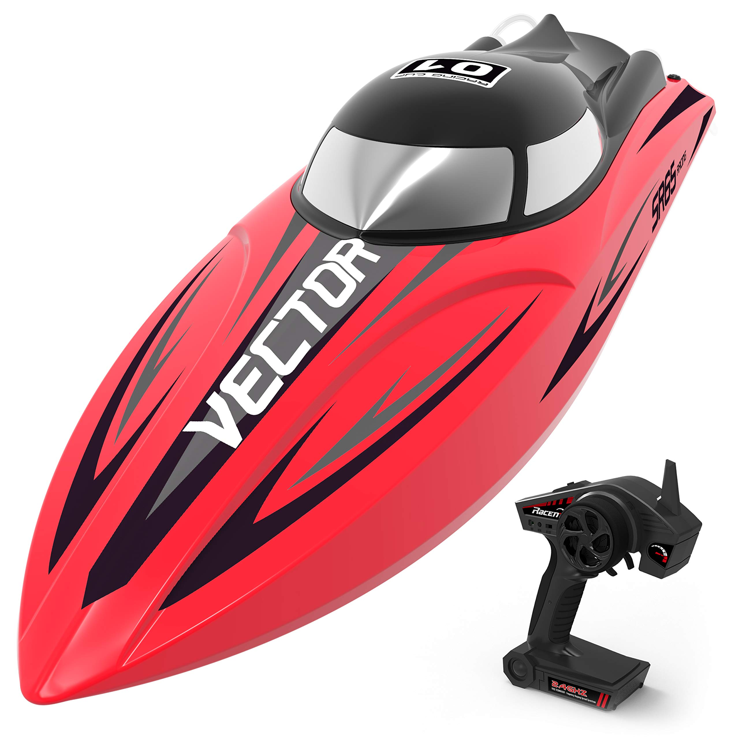 VOLANTEXRC Brusheless RC Boat 55km/h High Speed Remote Control Boat Vector SR65 with Self-Righting, Reverse Function in Lakes & Rivers for Kids and Adults, Boys or Girls (792-5 RTR Red)