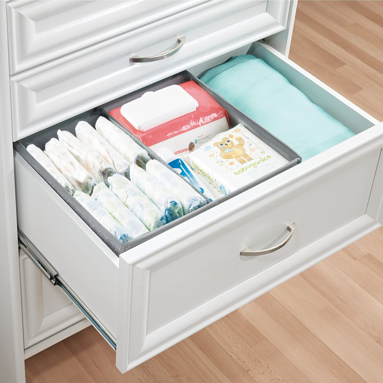 mDesign Organizador para bebe - Cajones organizadores para cosas de mantas, etc. - TambiÃn puede ser utilizado como caja para guardar juguetes - Color:gris: ...