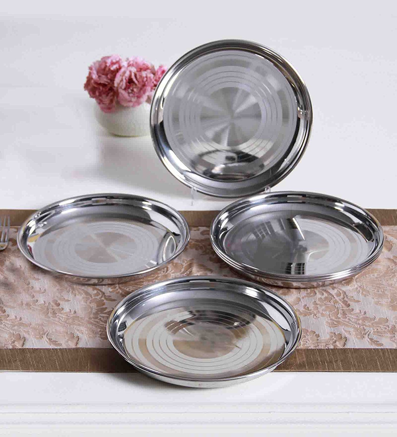 Mess Trays Great for Camping WhopperIndia Stainless Steel Quarter Pate Dinner Plate 10 Inch