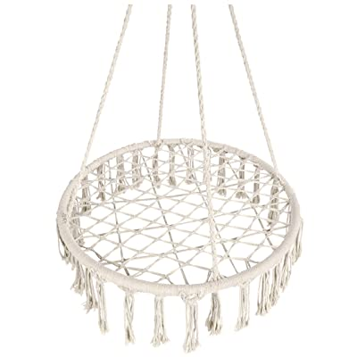 Best Choice Products Handwoven Cotton Macrame Hammock Hanging Chair Swing for Indoor & Outdoor w/Fringe Tassels - Cream : Garden & Outdoor