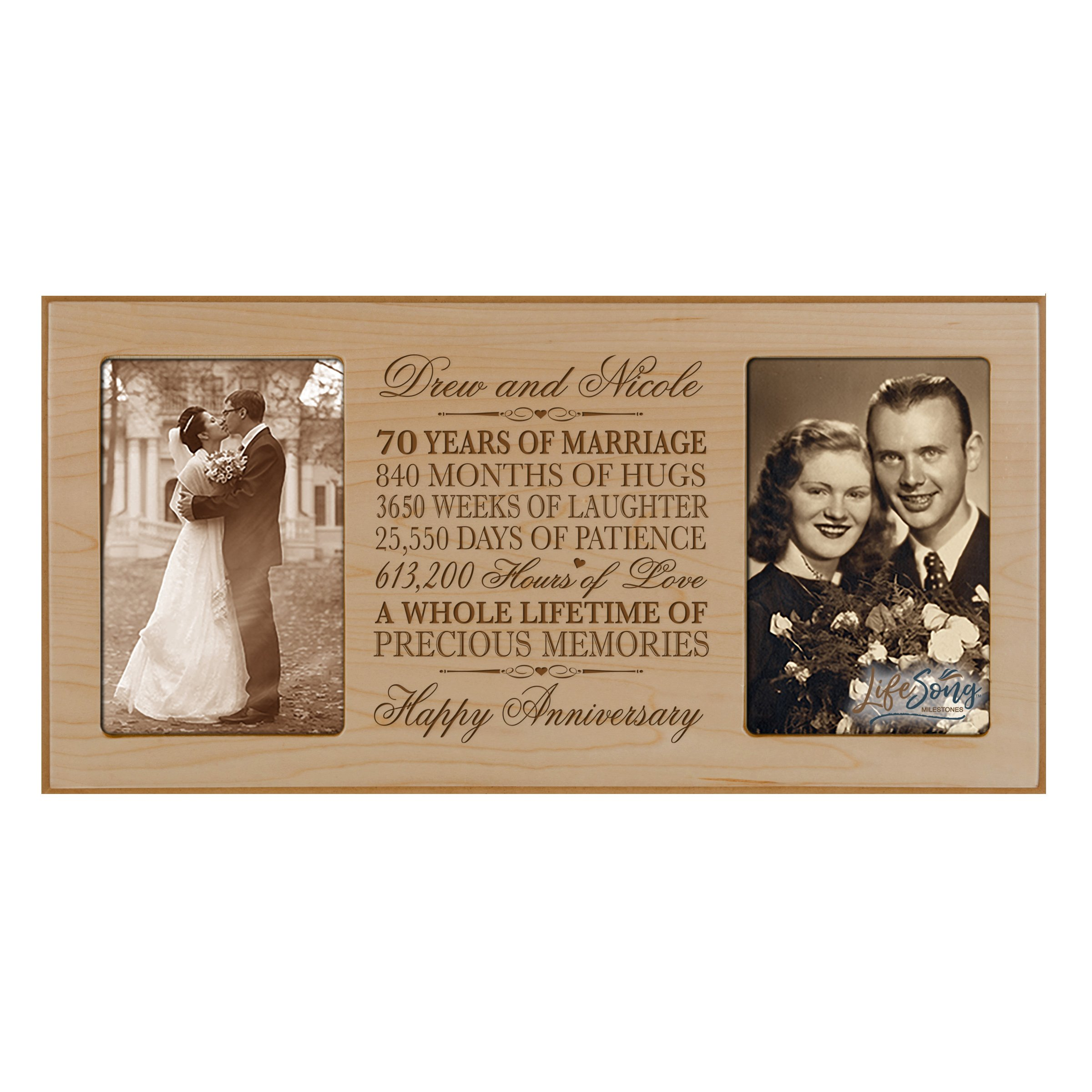 LifeSong Milestones Personalized 70 Year her him Couple Custom Engraved Wedding Celebration for Husband Wife Girlfriend Boyfriend Photo Frame Holds Two 4x6 Photos (Maple)
