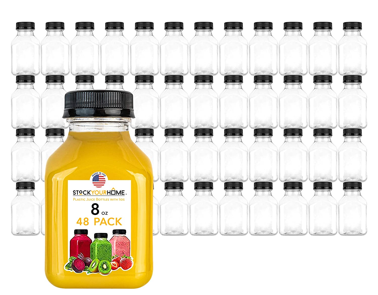 Stock Your Home Plastic Juice Bottles 8 Oz with Lids, Juice Drink Containers with Caps for Juicing Smoothie Drinking Cold Beverages, 8 Oz Bottles with Caps, 48 Count