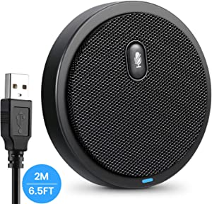 USB Computer Microphone, HAMKOT 360° Omnidirectional Conference Microphone with Mute Button for Desktop PC Mac Laptop, Metal Condenser Mic for Video Meeting,YouTuBe,Gaming,Recording,Online Class,Skype