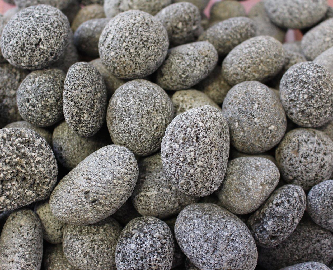 Exotic Fire Glass - Tumbled Black Lava Pebbles - 25lb. Pail with Handle