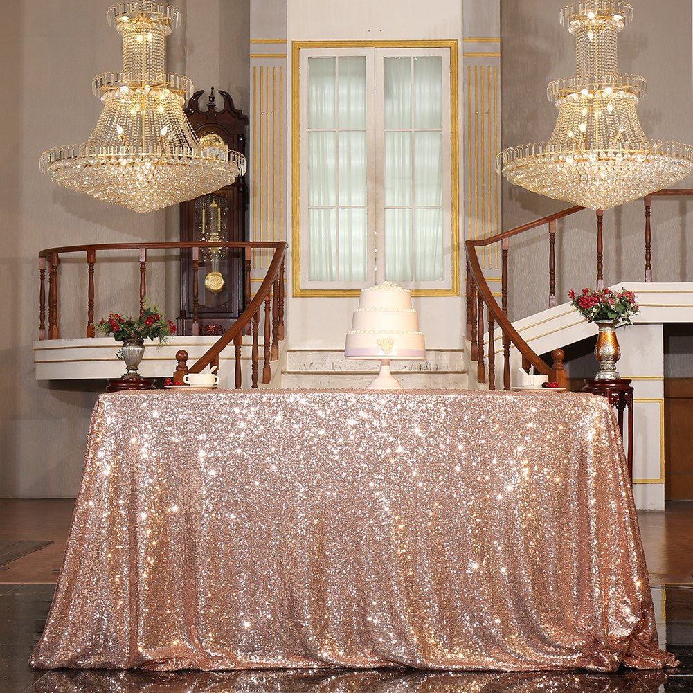 PartyDelight Sequin Tablecloth, Sequin Table Overlay Square, 50''x50'', Rose Gold by PartyDelight