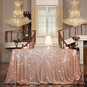 "PartyDelight Sequin Tablecloth, Sequin Table Overlay Square, 50""x50"", Rose Gold"