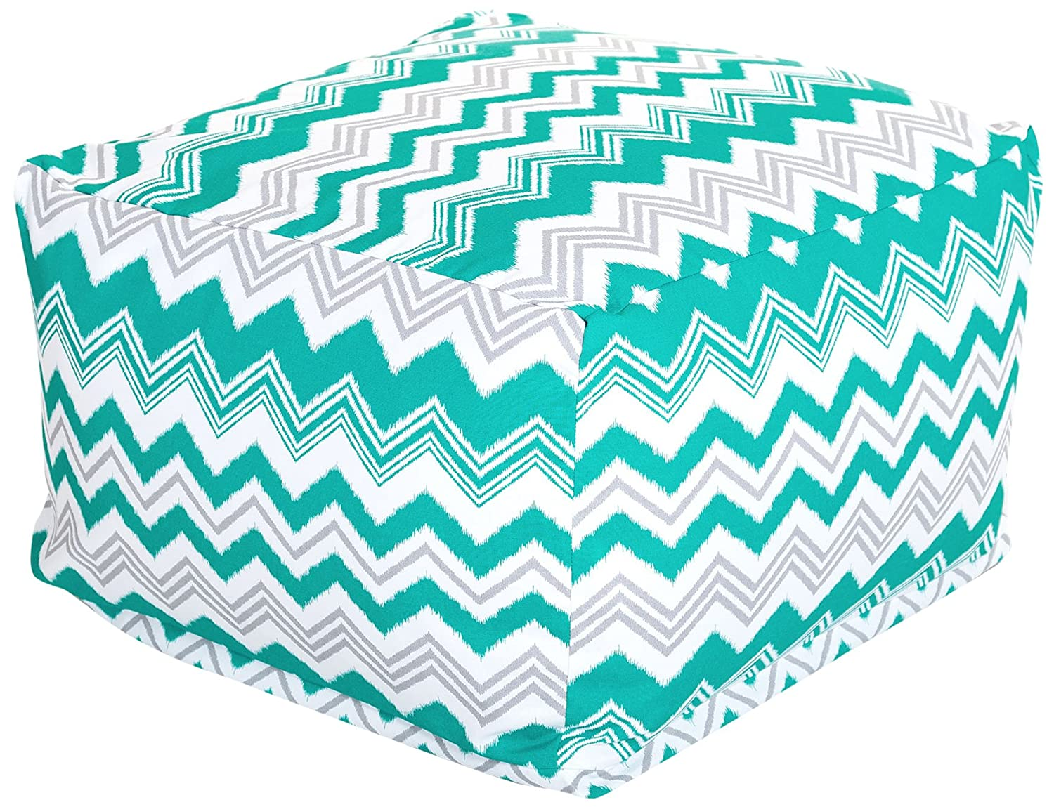 Majestic Home Goods Pacific Zazzle Ottoman, Large, Turquoise