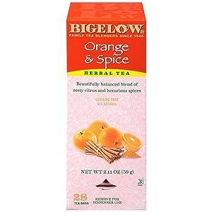 Bigelow Orange & Spice Herbal Tea 28-Count Box (Pack of 1) Caffeine-Free Soothing Herbal Tea Sweetly Citrus-y Tea with an Herbal Twist in Foil-Wrapped Bags