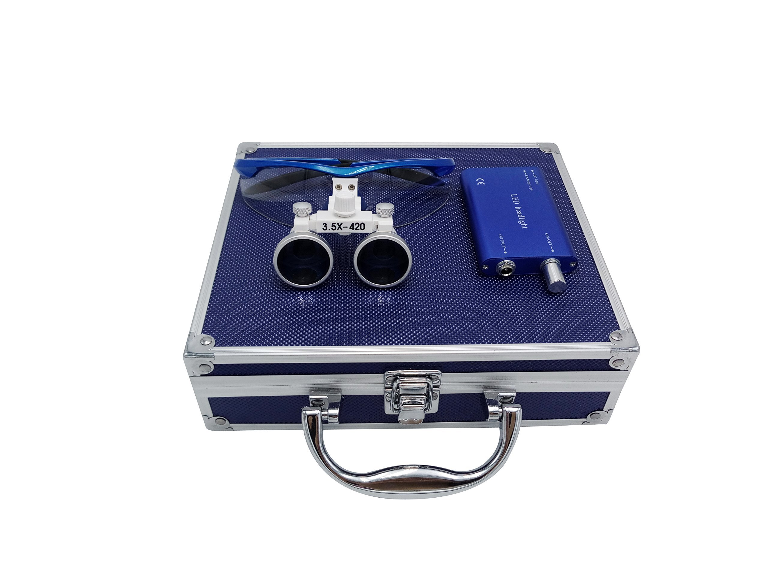 Aries Outlets YJ-01234678910111345-l 3.5 x 420mm Working Distance Surgical Binocular Loupes Optical Glass with LED Head Light Lamp and Aluminum Box, Blue