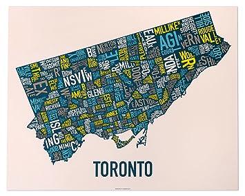 Amazon com: Ork Posters Toronto Neighbourhoods Map, Multi