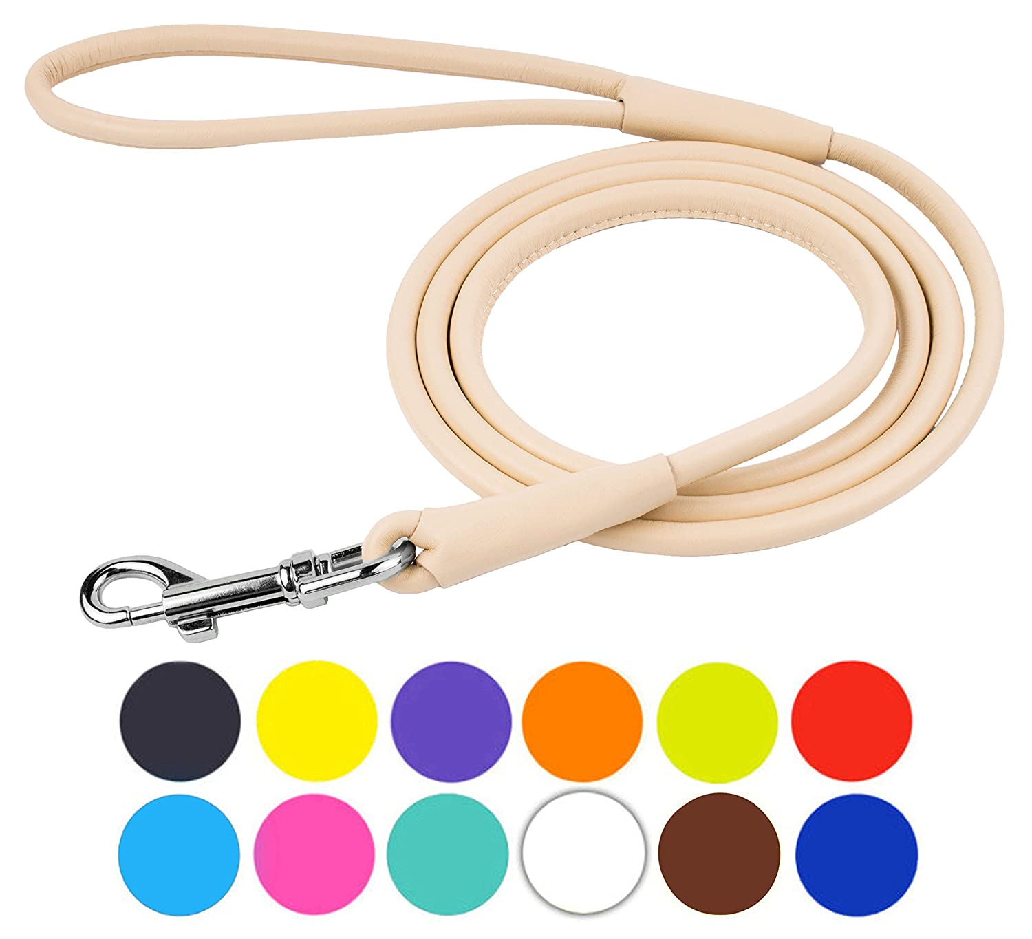 Beige Size S 6ft Beige Size S 6ft CollarDirect Rolled Leather Dog Leash 4ft, Soft Padded Training Leather Dog Lead 6ft, Puppy Leash Rolled Leather Small Medium Large Black bluee Red orange Green Pink White (Beige, Size S 6ft)