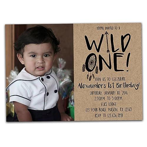 amazon com photo wild one birthday invitation for 1st birthday boy