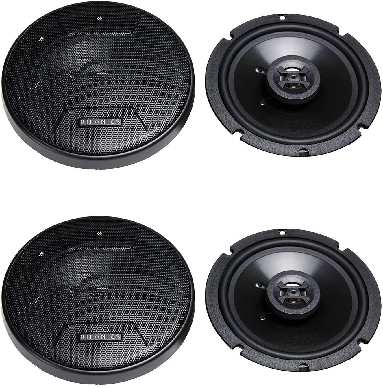 Black, Pair Grills Included Passive Crossover 6.5 Inch Shallow Mount Coaxial Speakers Sound System 3-Way Car Audio Hifonics ZS65CXS Zeus Coaxial Car Speakers 300 Watt