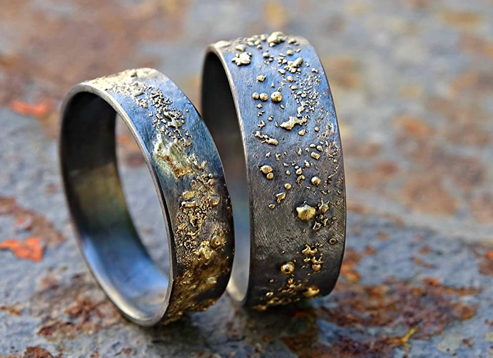 gift for him promise ring oxidised ring Sterling silver wedding band unusual wedding ring gift for her 24k gold leaf wedding band