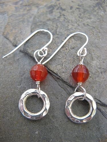 dd7be8564 Amazon.com: Deep Orange Carnelian Gemstone and Hammered Sterling Silver  Hoop Earrings Artisan Jewelry: Handmade