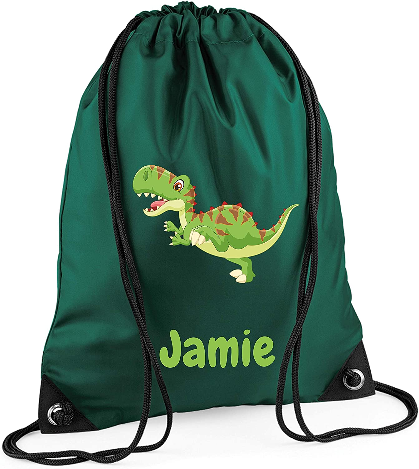 Personalised Name Drawstring DINOSAUR Bag School Club PE Gym Custom Sport
