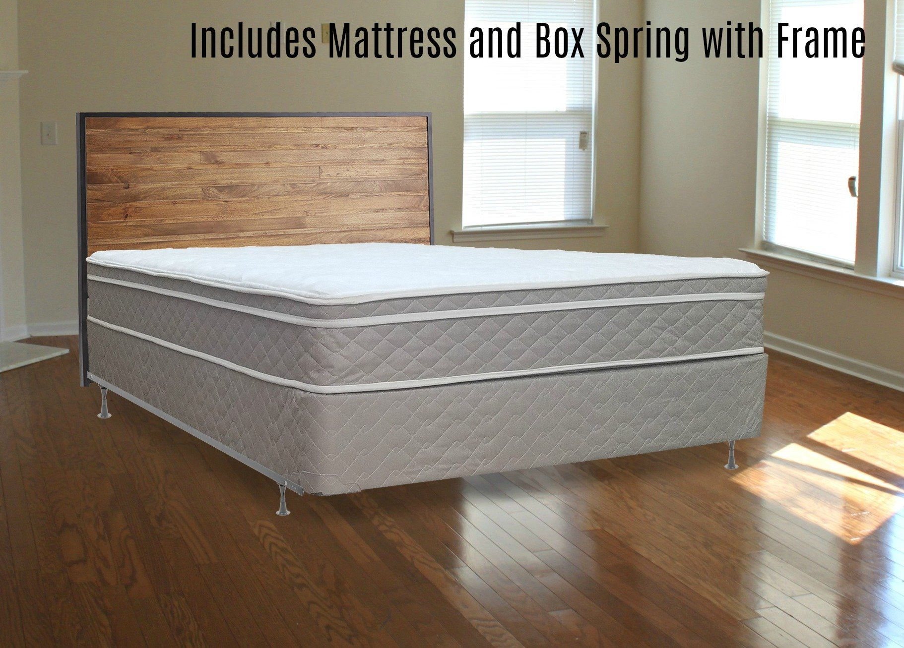 Continental Mattress 10'' Pillowtop Fully Assembled Othopedic Continental Mattress Queen Mattress and Box Spring With Bed Frame,