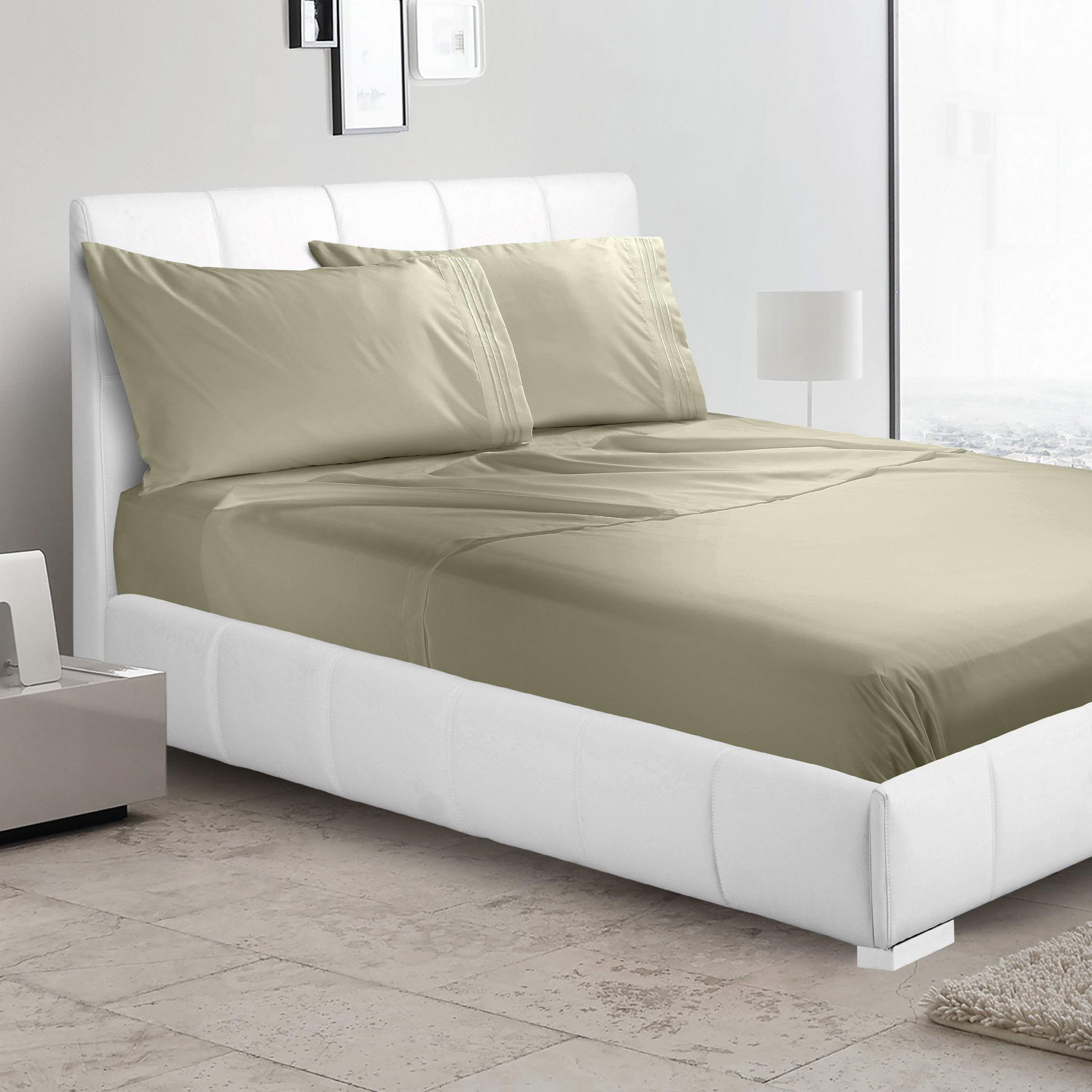Luxury Flat Sheet by Nestl Bedding - Premium Quality Silky Soft Hypoallergenic Microfiber - Wrinkle, Fade & Stain Resistant Bed Sheet - King, Sage Olive Green